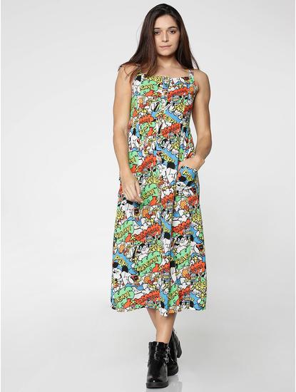 X Mickey Blue All Over Mickey Print Midi Dress