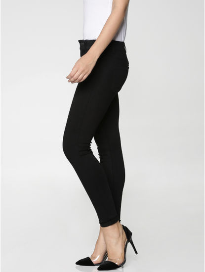 Black Mid Rise Ankle Length Skinny Fit Jeans