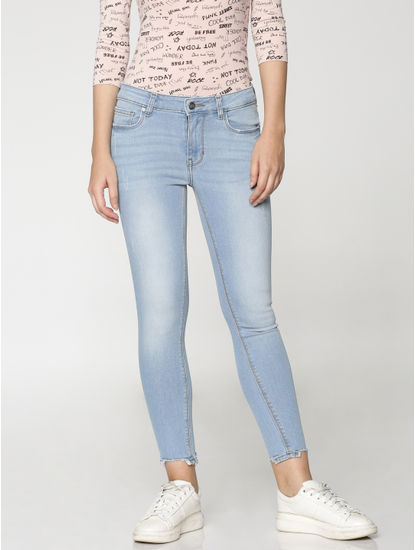 Light Blue Mid Rise Skinny Fit Jeans