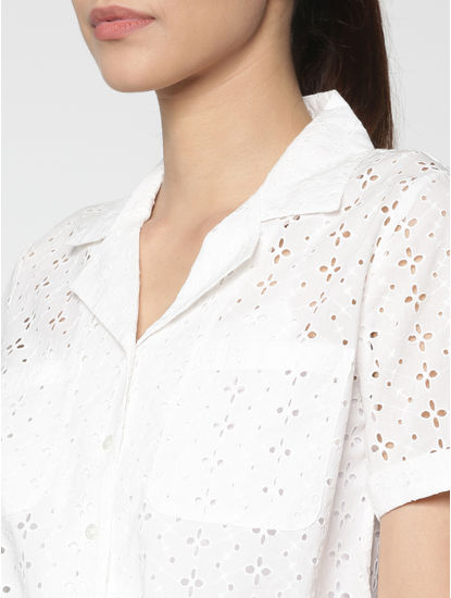 White Cut Work Embroidery Front Tie Cropped Shirt
