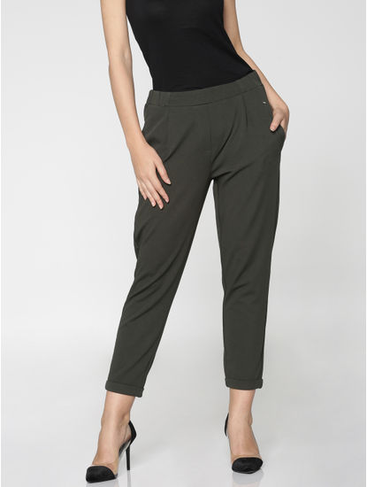 Grey Mid Rise Elasticated Waist Ankle Length Skinny Fit Pants