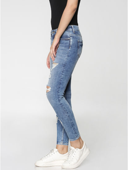 Blue Mid Rise Ripped Skinny Fit Jeans