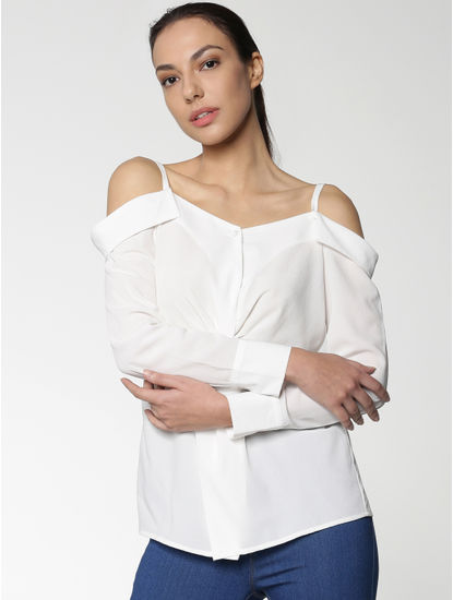 White Cuff Sleeves Off-Shoulder Top