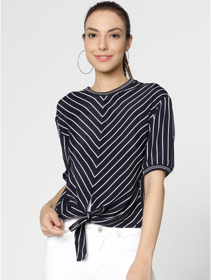 Navy Blue Striped Tie Up Top