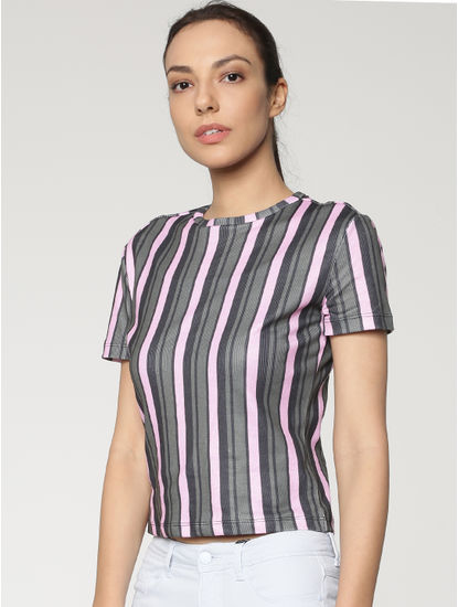 Black Colour Blocked Striped T-shirts