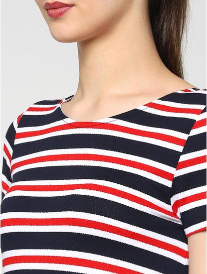 Navy Blue Striped Criss Cross Back T-Shirt Dress