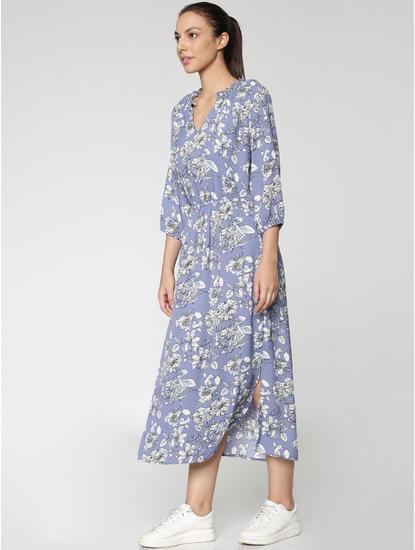 Blue All Over Floral Print Midi Dress