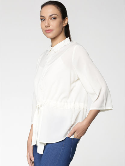 White Drawstring Tie Up Waist Shirt