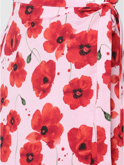 Pink Mid Rise All Over Floral Print Midi Wrap Skirt
