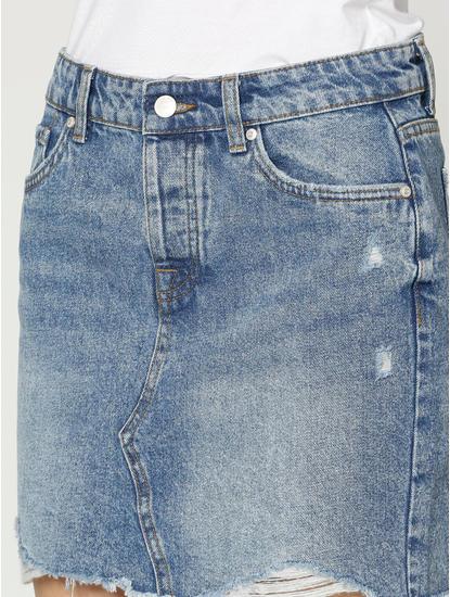 Blue Mid Rise Distressed Hem Mini Denim Skirt