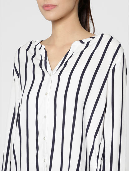 White And Blue Striped Slim Fit Shirt