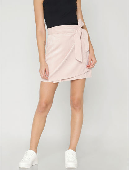 Pink Mid Rise Wrap Corduroy Skirt