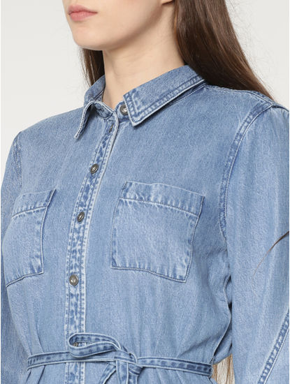 Blue Tie Up Waist Denim Shirt Dress