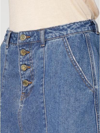 Blue Mid Rise Stitch Detailing Faded Slim Fit Denim Skirt