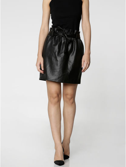 Black Mid Rise PaperBag Waist Mini Skirt