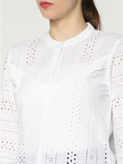 White Cut Work Embroidery Slim Fit Shirt