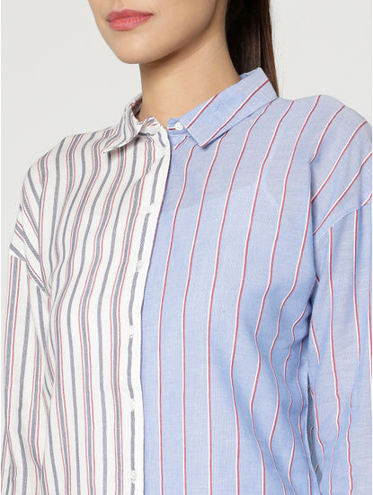 White Colour Blocked Striped Shirt