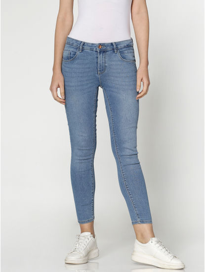 Blue Mid Rise Cropped Skinny Fit Jeans