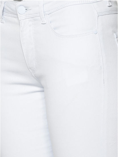 Light Blue Mid Rise Ankle Length Slim Fit Pants