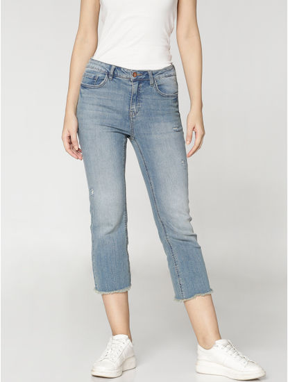 Blue Mid Rise Distressed Frayed Hem Cropped Comfort Fit Jeans