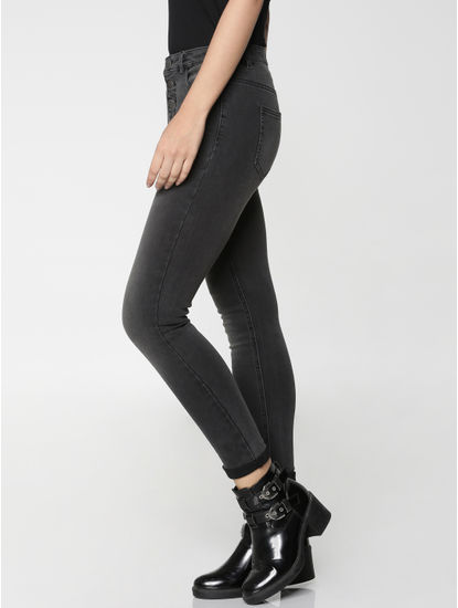 Black High Waist Cropped Skinny Fit Jeans