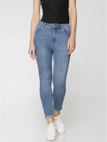 Blue High Waist Cropped Skinny Fit Jeans
