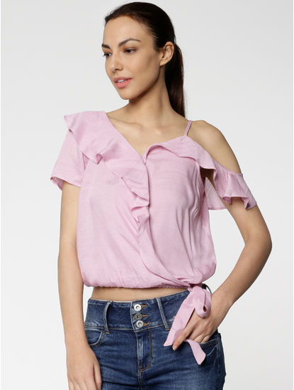 Pink Checks Tie Up Ruffle Detail Cropped Top
