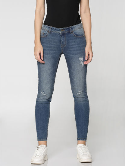 Blue Mid Rise Ripped Washed Ankle Length Skinny Fit Jeans