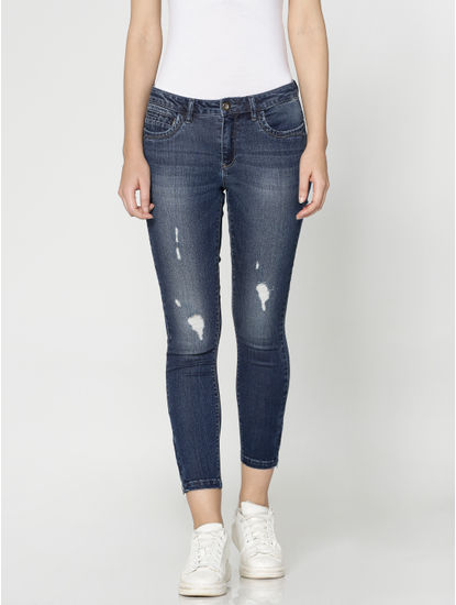 Dark Blue Mid Rise Mildly Distressed Ankle Length Skinny Fit Jeans