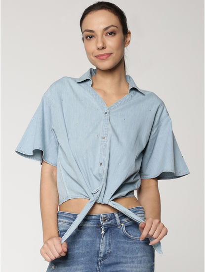 Blue Tie Up Cropped Shirt