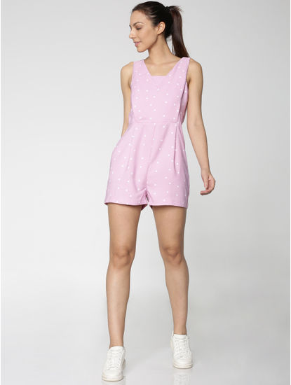 Pink All Over Polka Dot Print Slim Fit Playsuit