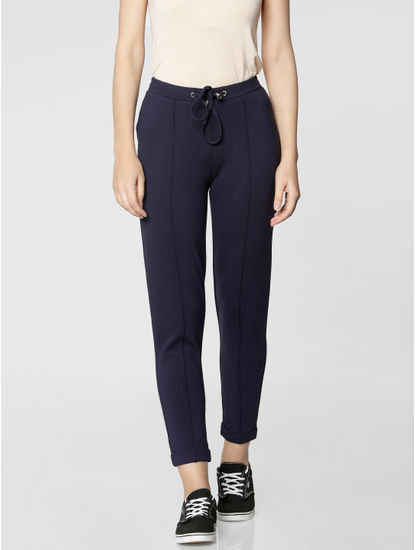 Blue Mid Rise Elasticized Waist Ankle Length Skinny Fit Pants