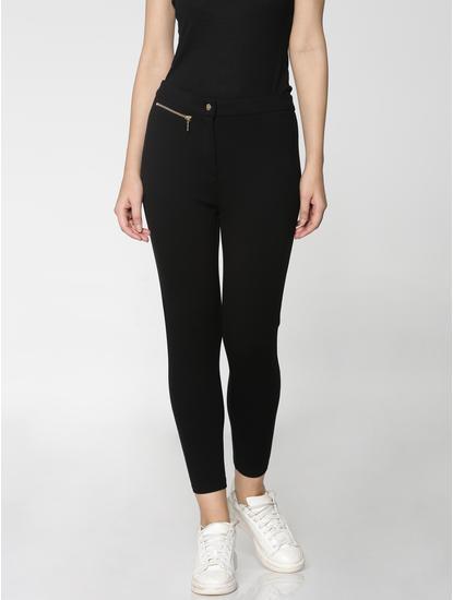 Black Mid Rise Zip Detail Ankle Length Skinny Fit Leggings