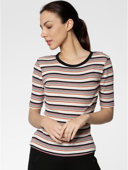 White Striped Slim Fit T-shirt