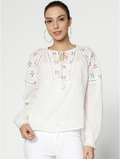 White Cut Work Embroidered Top