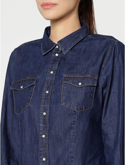 Blue Slim Fit Denim Shirt