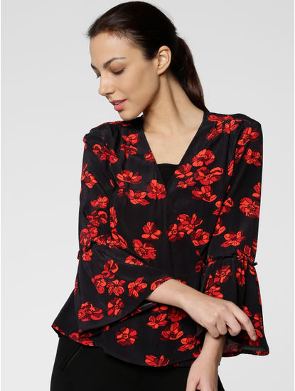 Black All Over Floral Print Bell Sleeves Top