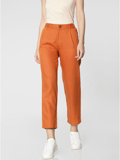 Brown Mid Rise Ankle Length Relaxed Fit Pants