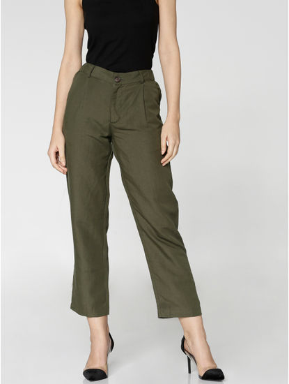 Green Mid Rise Ankle Length Relaxed Fit Pants