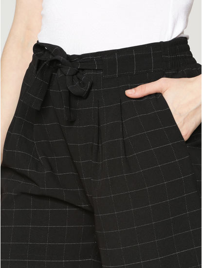 Black Low Rise All Over Check Print Drawstring Shorts