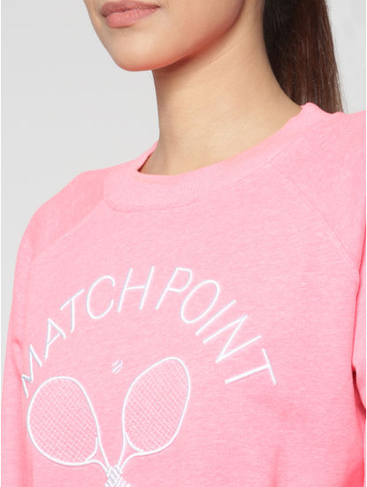 Neon Pink Embroidered Text and Graphic Print Sweatshirt