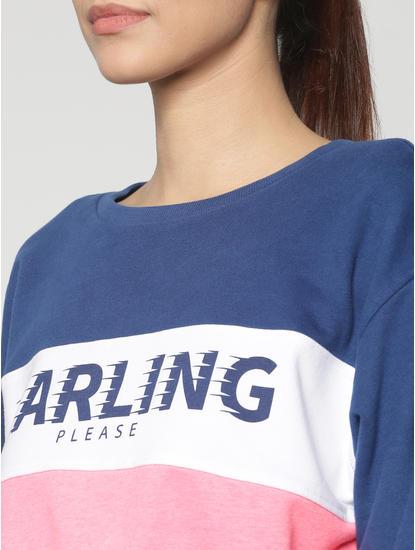 Blue Colour Blocked Text Print Cropped Sweatshirt