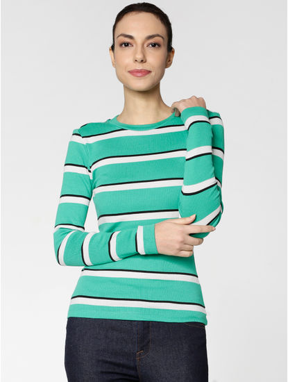 Green Colour Blocked Striped T-shirt