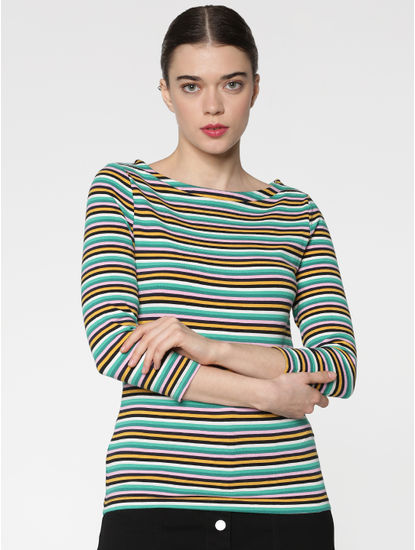 White Multicoloured Striped Boatneck T-shirts