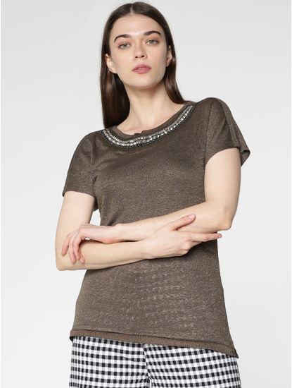 Brown Embellished Neckline T-shirt