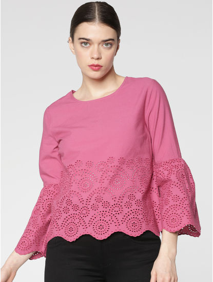 Pink Schiffli Cut Work Embroidery Cropped Top