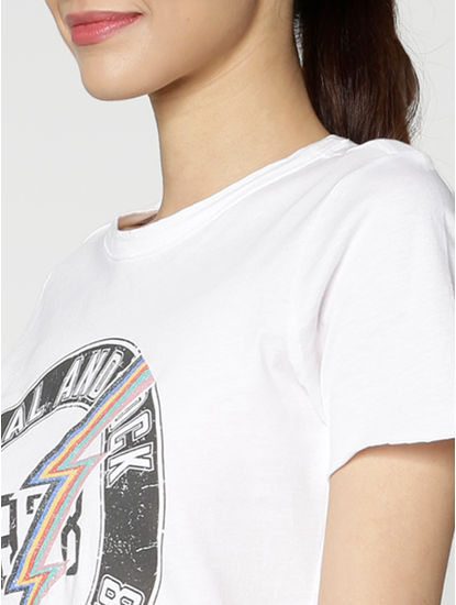 White Text And Graphic Print T-Shirt