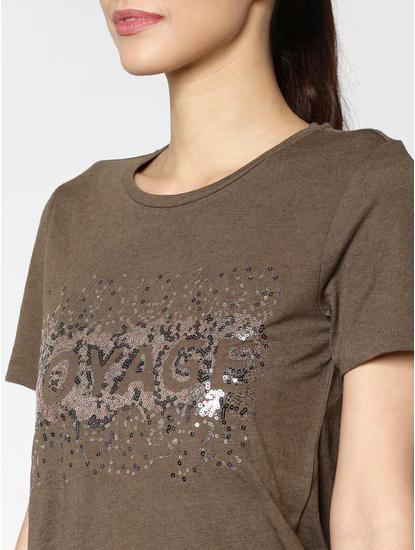 Brown Sequin Embellished T-Shirt