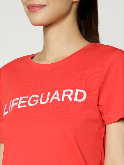 Red Lifeguard Text Print T-Shirt