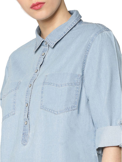 Light Blue Roll Up Sleeves Denim Shirt